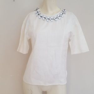 Express Ivory elite stretch top with neck bling